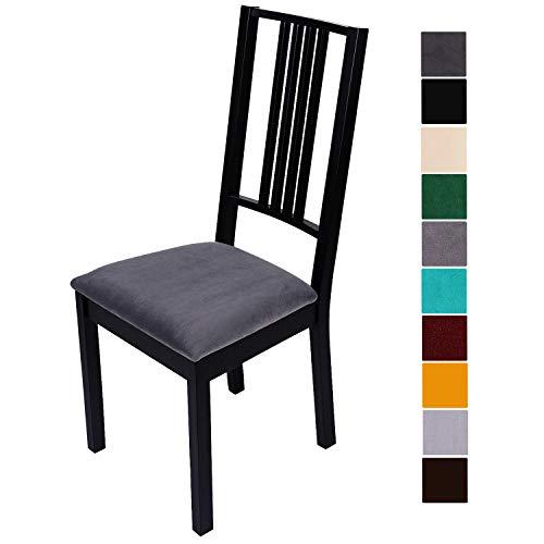 Homaxy Stuhlbezug Sitzfläche Samt Weich Sitzbezug Stuhl Stretch-sitzbezüge für Esszimmerstühle Abwaschbar Schonbezug Hussen für Stühle- 4er Set, Dunkelgrau