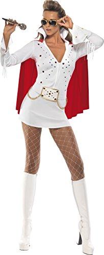 Smiffys vrouwen Elvis Viva Las Vegas kostuum, jurk & kaap