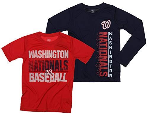 Outerstuff MLB Boys Young Baseball Fan Two Performance T-Shirt Set, Washington Nationals, Medium 10-12