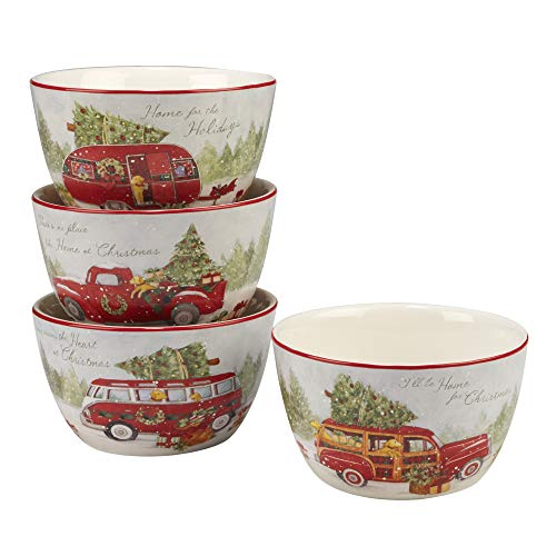 Certified International 22782SET4 Home for Christmas 5.5' Ice Cream Bowl, Set of 4 Assorted Designs, One Size, Mulicolored