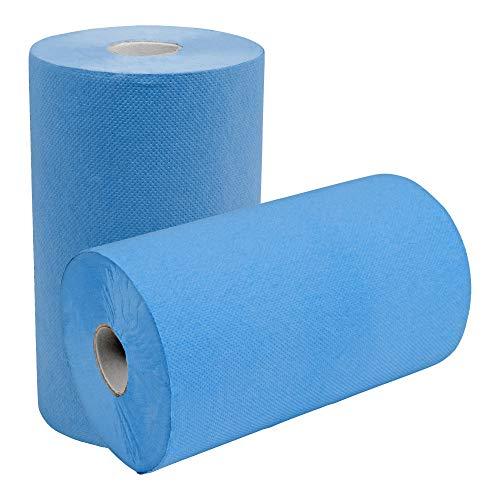 STIER Putzpapier Rollen, 2 Rollen, blau, 3-lagig, Putzrollen, Länge 36,5 cm x Breite 35 cm, saugstarke Reinigungstücher, reißfeste Putztücher aus 100% Zellstoff