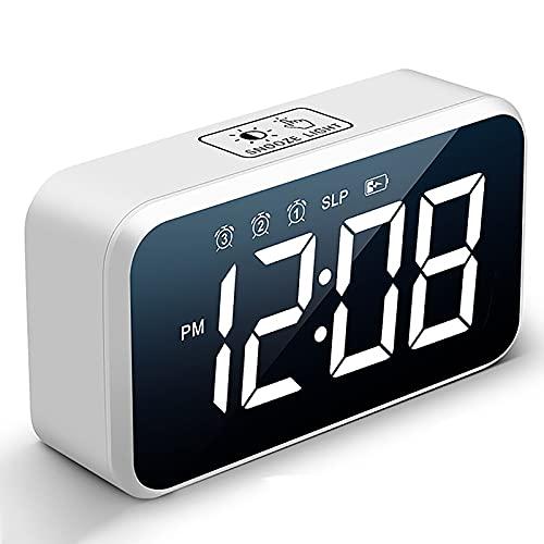 HFZY Reloj Despertador Digital LED, Espejo Recargable Relojes de Noche con Pantalla de Temperatura/Snooze / 30 Música/Volumen y Brillo Ajustables (Negro, Blanco),B