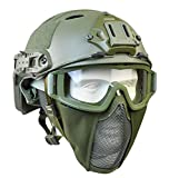 Tactical Fast Helmet with Ear Protection Foldable Half Face Airsoft Mesh Mask and Tactical Goggles for Airsoft Paintball Hunting Shooting Outdoor Sports (Green)