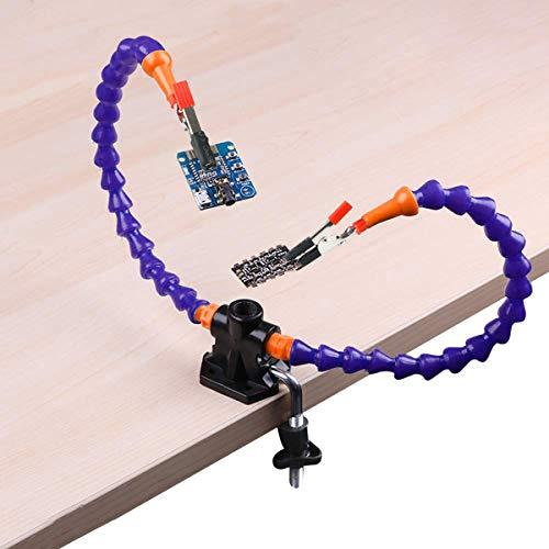 Flexible Helfende Hände, Dritte Hand, Lötstation Bügelzubehör-Kit (5 cm-Klemmklemme, Flexibel Einsetzbare Helfende Hände mit 3X-Lupe) (Zwei Hände)