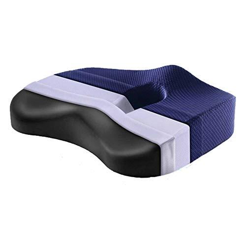 DUONIANHESJ Memoria De Espuma Cojín De Asiento Almohada Ortopédica Silla De Oficina Cojín Hip Asiento De Coche Silla De Ruedas Caderas Masaje VERTEBRAE Pad (Color : Blue Upgrade Style)