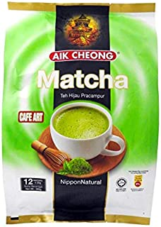 3 Pack Aik Cheong Cafe Art Matcha Premix Green Tea Nippon Natural Imported from Malaysia (3 x 12 sachets) Free Express Shipping