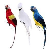 #N/A 3x人工鳥の羽リアルな家の庭の装飾の装飾オウム3色