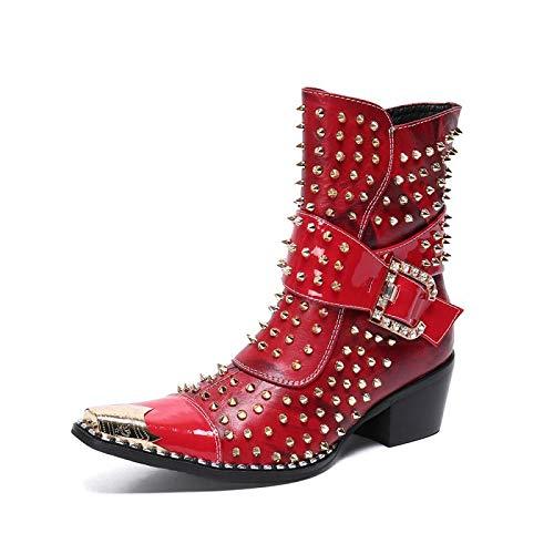 Botas de cuero para hombre Gorro con punta de metal Zapatos con cremallera de remache Personalizado Western...