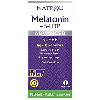 Natrol Melatonin + 5 HTP Advanced Sleep Time Release Bi-Layer Tablets, Triple-Action Formula, Calm the Mind, Helps You Fall Asleep Faster, Stay Asleep Longer, 100% Drug-Free, 10mg, 60 Count