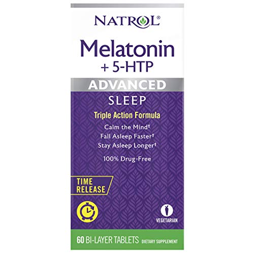 Natrol Melatonin + 5 HTP Advanced Sleep Time Release Bi-Layer Tablets, Triple-Action Formula, Calm the Mind, Helps You Fall Asleep Faster, Stay Asleep Longer, 100% Drug-Free, 6mg, 60 Count