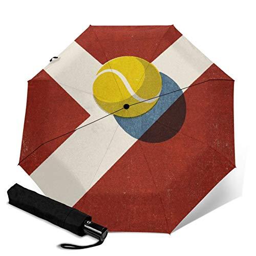 Reiseschirm, faltbar, Bälle Tennis Tonplatz Automatik Trif Old Winddicht Regenschirm für Frauen mit UV-Schutz Automatisches Öffnen und Schließen