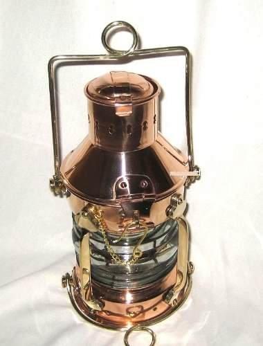magicaldeco Große Petroleumlampe- Schiffslampe aus Kupfer und Messing