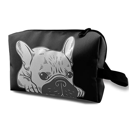 WFIRE Cream Frenchie Black Mask Cosmetic Bag Travel Storage Handbag Multifunction Organizer Pouch