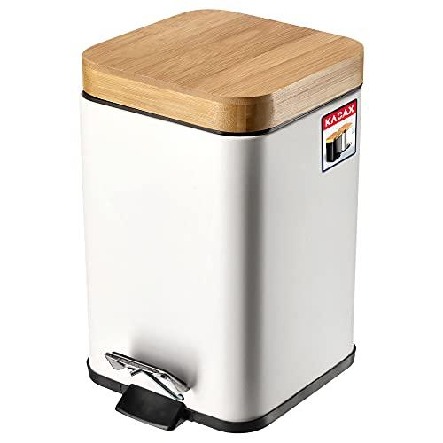 KADAX Abfallbehälter aus pulverbeschichtetem Stahl, 3L, Eimer mit Kübel und Fußpedal, Abfalleimer mit Absenkautomatik, Mülleimer mit Bambusdeckel (Weiß)