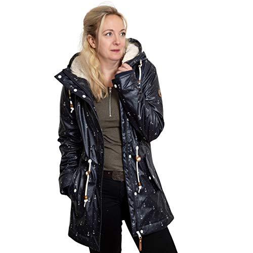 Ragwear Damen Winterjacke Regenjacke Monadis Rainy Navy dunkelblau/Weiss - M