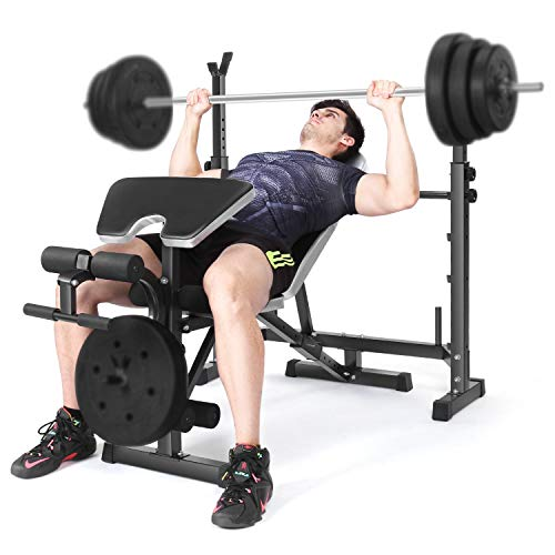 Weightlifting Bed Bench Press Squat Rack Indoor Multi-Function...