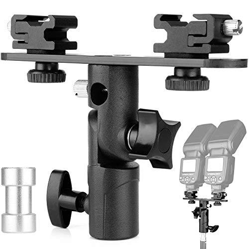 ChromLives Dual Flash Bracket Hot Shoe Speedlight Stand Umbrella Holder Light Stand Bracket Mount 1/4'' to 3/8'' Compatible with Studio Video DSLR Camera Canon Nikon Yongnuo