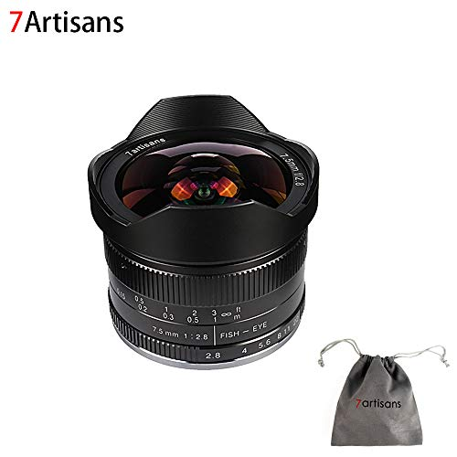 7artisans 7.5mm F2.8 APS-C Wide Angle Fisheye Fixed Lens for Compact Mirrorless Cameras Canon EF-M Mount M1 M2 M3 M5 M6 M10-Black
