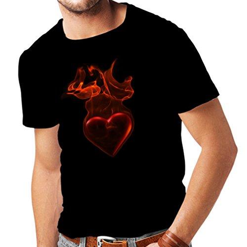 lepni.me Camisetas Hombre Corazón ardiente - Yo Te Quiero Regalo de San Valentín (Large Negro Multicolor)