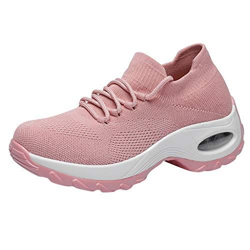 Fitzac Modische Schuhe für Damen, Turnschuhe, Damen, fliegende Stricksocken, Schuhe, Schaukelschuhe, lässig, Laufen, weich und bequem, lässig, Schnürung, Laufschuhe für Damen, rose, 36 EU