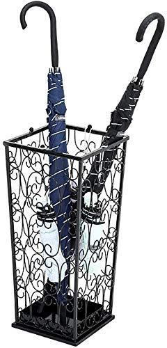HEWEI BIG metalen klassieke wandelstok houder paraplu staan thuis kantoor hal opslag met 4 bovenste knop haken en een bodem regen lekkende container (kleur: brons)