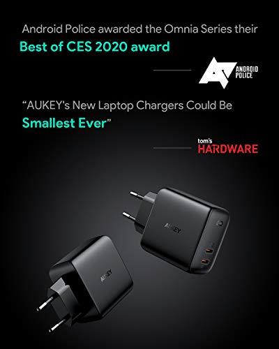 AUKEY Omnia USB C Ladegerät 65W Power Delivery 3.0, USB-C Netzteil mit GaNFast Tech & Dynamic Detect, Schnelles PD Ladegerät für 13''MacBook Pro, iPad Pro, iPhone, Google Pixel 4XL, Nintendo