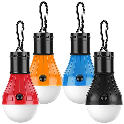 Camping Lights,Tent Lights with Carabiner Clips- 4 Pcs Waterproof Tent LED Light Portable Camping Emergency Light Lamp Lantern for Camping, Hiking, Fishing, Hunting