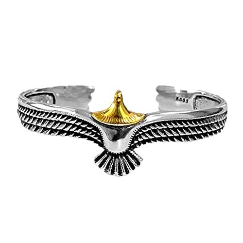 Bestomrogh Brazalete de metal águila, pulsera abierta ajustable de moda para hombres mujeres (oro)