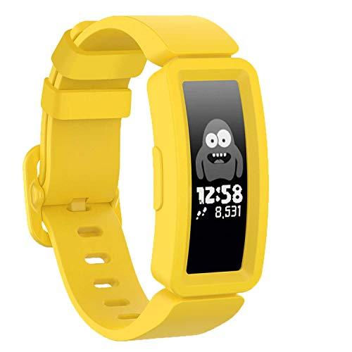 Correa GVFM compatible con Fitbit Ace 2 para niños 6, silicona suave impermeable pulsera accesorios correa niños niñas pulseras compatible para Fitbit Ace 2 (amarillo)