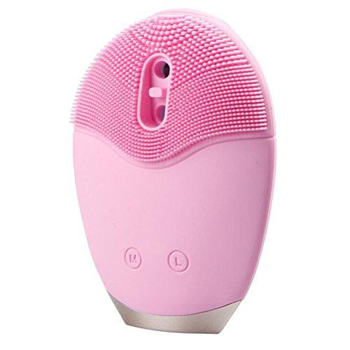 Brosse Nettoyante Visage Electrique Masseur Ultrasons en Silicone Doux Électrique Brosse Nettoyante - Portable, Rose