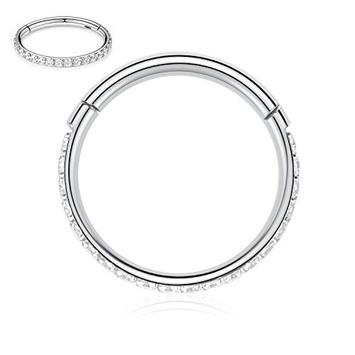 Kzslive 16G CZ Silver Nose Rings 8mm Septum Clicker 316L Surgical Steel Nose Rings Cartilage Earrings Hoop Daith for Men Women Piercing Jewelry