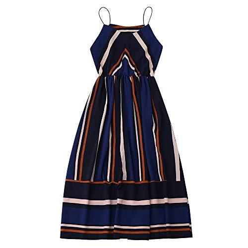 GMZA Sommer Strand Boho Kleid Frauen Streifen Ärmelloses Sommerkleid Beiläufiges Langes Maxi Kleid L Kobaltblau