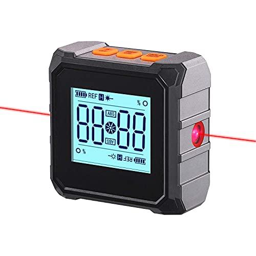 Digitaler Winkelmesser Neigungsmesser Laser Wasserwaage, 3 in 1 magnetisch IP54 Wasserdicht Inklinometer Level Box, LCD Display, Typ-C Schnittstelle