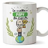 Mugffins Papi Tasse/Mug - Le Grand-Père du Monde - Tasse Originale/Idee Fête des Pères/Cadeau Anniversaire/Future Papi. Céramique 350 ML