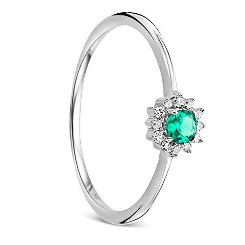 Orovi Anello Donna Solitario in Oro Bianco con Smeraldo e Diamanti Taglio Brillante Ct 0.05 e Smeraldo Ct 0.11 Oro 9 Kt / 375