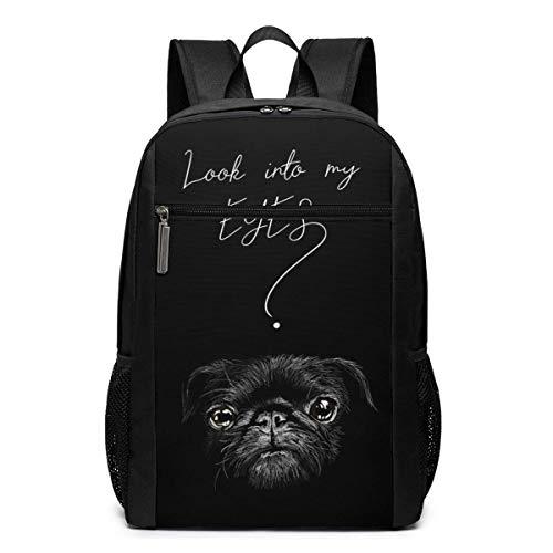 WLQP Black Dog Look Into My Eyes Mochila Grande para computadora portátil Mochila de Negocios de Viaje Mochila Informal para computadora Escolar de 17 Pulgadas