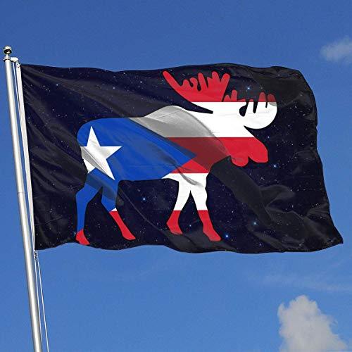 Xhayo Drapeaux Puerto Rico Flag Moose Banner Flag Demonstration Flag Outdoor Garden Flag 3'X5' House Banner