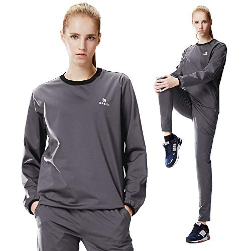 KEBILI Sauna Suit Round Women Weight Loss Gym Fitness Exercise Workout Sweat Training Hot Fat (Gray Round Suit, Top - 2XL/Pants - 2XL)