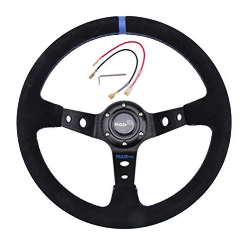 Volante de Carreras de Gamuza Universal Modificado para Automóvil de 13 Pulgadas,Volante Deportivo 6 Tornillos Rally Drift Race Volante Universal