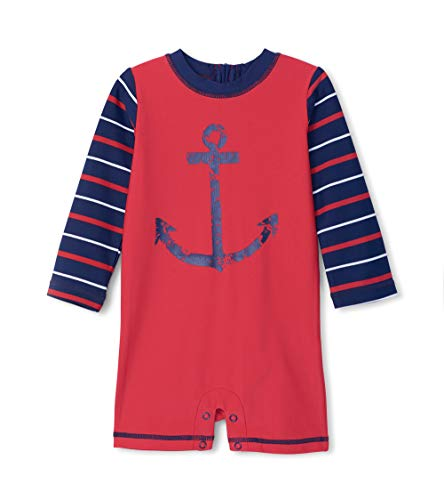 Hatley One Piece Rash Guard Swimsuits Maillot, Rouge (Nautical Anchor 600), 12 Mois Bébé garçon