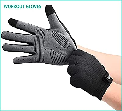 ihuan Ventilated Weight Lifting Gym Workout Gloves Full Finger with Wrist Wrap Support for Men & Women, Full Palm Protection, for Weightlifting, Training, Fitness, Hanging, Pull ups by