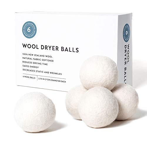 Wool Dryer Balls Eco Friendly Alternative to Dryer Sheets, 100% New Zealand Wool, Organic, Handmade and Reusable (6 Pack XL) Dryer Ball. Reduce Wrinkles and Decrease Drying Time