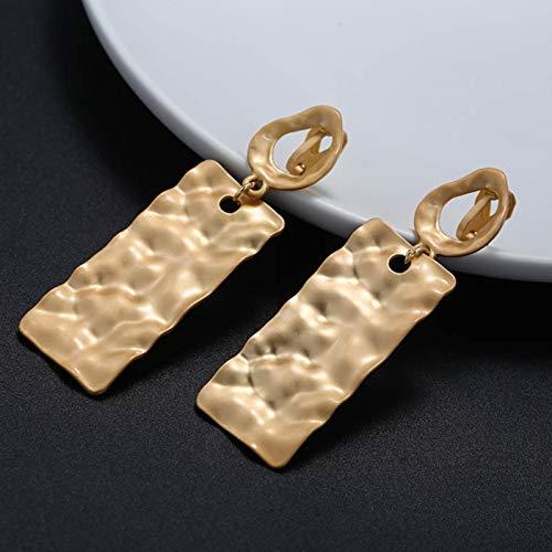 AQUALITYS Declaración de Moda Hyperbolic Matte Gold No Perforado Clip en Pendientes Grandes geométricos Clips de Oreja Vintage para Mujeres Brincos Jewelry-B