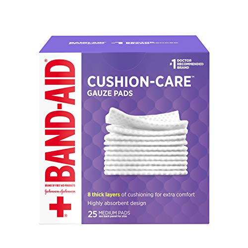 Band-Aid Brand Sterile Gauze Pads, Non-Adhesive & Individually-Wrapped, Medium, 3 in x 3 in, 25 ct