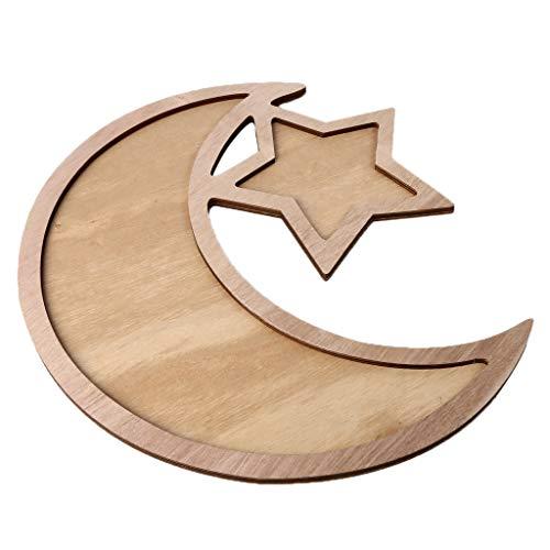 Yuemei Mubarak Ramadan LED Holz DIY Dessert Tablett, Holz Ramadan Eid Mubarak Mond LED Muslim Islam Eid Festival Dekoratives Servierplatten Aus Holz Dekorationen (C2)