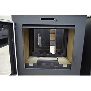 Estufa de leña con 2 puertas de ventana en ambos lados 8/12 kw de potencia de calefacción de combustible sólido chimenea de salida de la parte superior de la flauta
