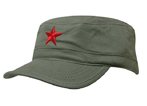 Damen Herren RUSSISCHE MILITÄRMÜTZE Roter Stern Fancy Dress Fidel Castro Vintage Military Mütze Cap (Green Red Star)