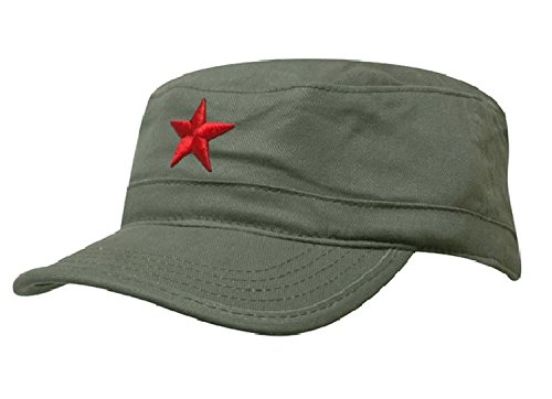 Damen Herren RUSSISCHE MILITÄRMÜTZE Roter Stern Fancy Dress Fidel Castro Vintage Military Mütze Cap (Green Red Star)
