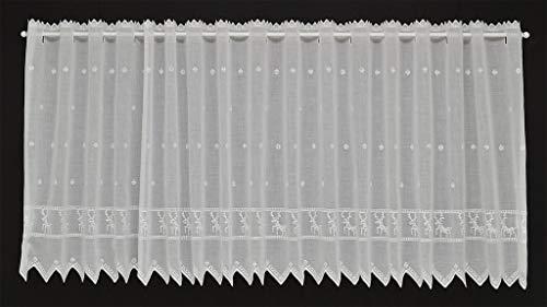 Tenda della finestra con i cervi in punto croce | Può scegliere la larghezza in segmenti da 21 cm, come vuole | Colore: Bianco