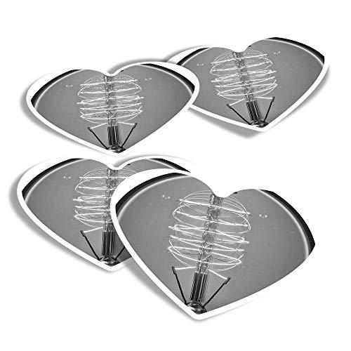 BW 42077 - Adesivi in vinile a forma di cuore, con lampadina Edison Steampunk, per computer portatili, tablet, bagagli, libri di scarti, frigoriferi #42077